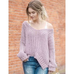 Free People Infinite V-Neck Sweater in Mauve